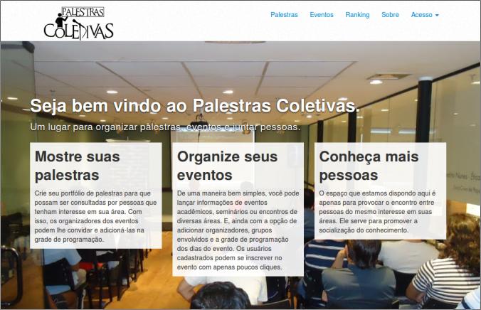 Homepage do Palestras Coletivas