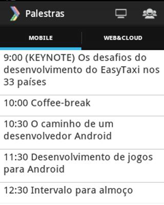 Listagem de palestras do aplicativo