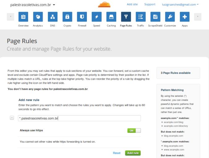 Regra de página para forçar a navegação via HTTPS