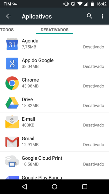 Apps google desativadas